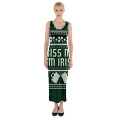 Kiss Me I m Irish Ugly Christmas Green Background Fitted Maxi Dress