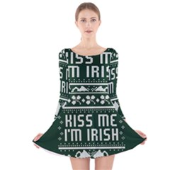 Kiss Me I m Irish Ugly Christmas Green Background Long Sleeve Velvet Skater Dress