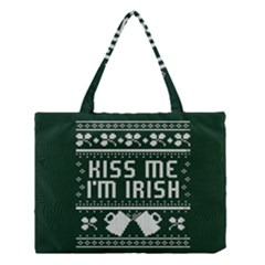 Kiss Me I m Irish Ugly Christmas Green Background Medium Tote Bag