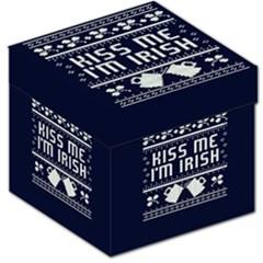 Kiss Me I m Irish Ugly Christmas Blue Background Storage Stool 12