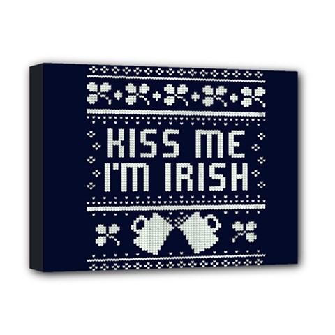 Kiss Me I m Irish Ugly Christmas Blue Background Deluxe Canvas 16  X 12