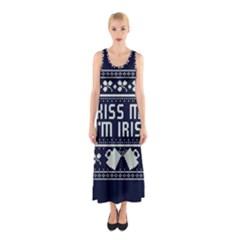 Kiss Me I m Irish Ugly Christmas Blue Background Sleeveless Maxi Dress