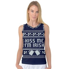 Kiss Me I m Irish Ugly Christmas Blue Background Women s Basketball Tank Top