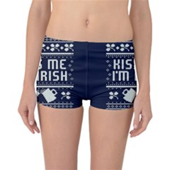 Kiss Me I m Irish Ugly Christmas Blue Background Reversible Boyleg Bikini Bottoms
