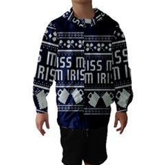 Kiss Me I m Irish Ugly Christmas Blue Background Hooded Wind Breaker (kids)