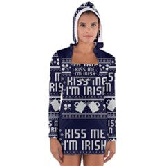 Kiss Me I m Irish Ugly Christmas Blue Background Long Sleeve Hooded T Shirt