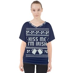 Kiss Me I m Irish Ugly Christmas Blue Background V Neck Dolman Drape Top