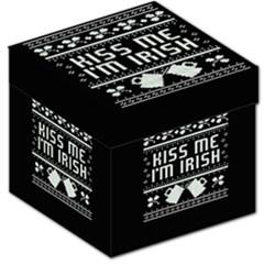 Kiss Me I m Irish Ugly Christmas Black Background Storage Stool 12