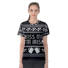Kiss Me I m Irish Ugly Christmas Black Background Women s Sport Mesh Tee
