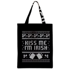 Kiss Me I m Irish Ugly Christmas Black Background Zipper Classic Tote Bag