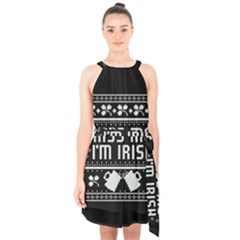 Kiss Me I m Irish Ugly Christmas Black Background Halter Collar Waist Tie Chiffon Dress