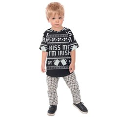 Kiss Me I m Irish Ugly Christmas Black Background Kids Raglan Tee