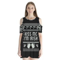 Kiss Me I m Irish Ugly Christmas Black Background Shoulder Cutout Velvet  One Piece