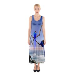 Wonderful Blue  Parrot Looking To The Ocean Sleeveless Maxi Dress