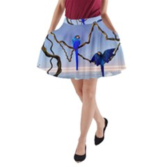 Wonderful Blue  Parrot Looking To The Ocean A Line Pocket Skirt