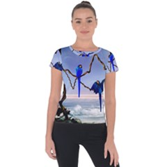 Wonderful Blue  Parrot Looking To The Ocean Short Sleeve Sports Top