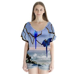 Wonderful Blue  Parrot Looking To The Ocean V Neck Flutter Sleeve Top
