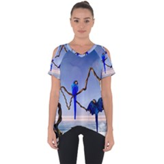 Wonderful Blue  Parrot Looking To The Ocean Cut Out Side Drop Tee
