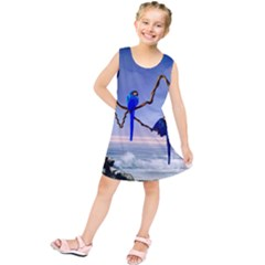Wonderful Blue  Parrot Looking To The Ocean Kids  Tunic Dress