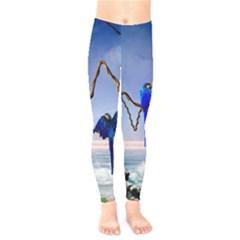 Wonderful Blue  Parrot Looking To The Ocean Kids  Legging