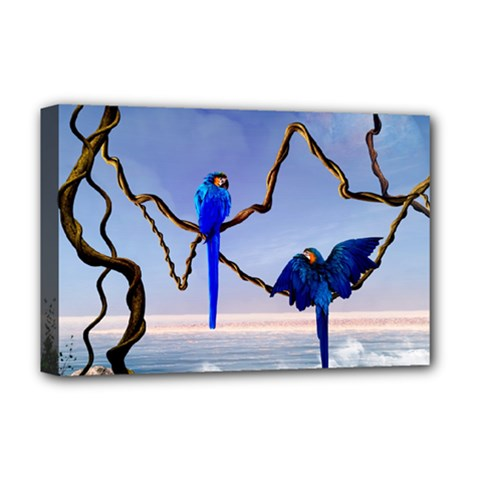 Wonderful Blue  Parrot Looking To The Ocean Deluxe Canvas 18  X 12