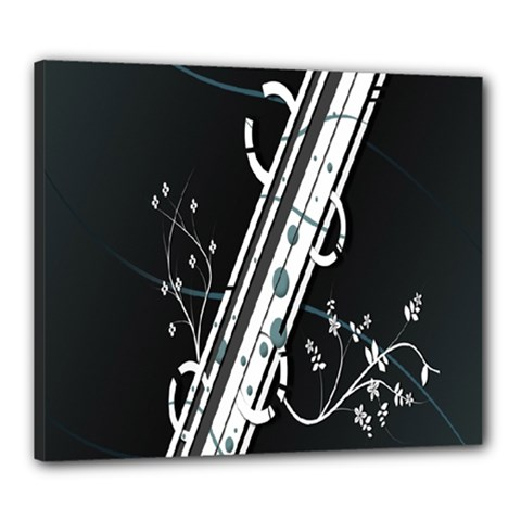 Line Light Leaf Flower Floral Black White Beauty Polka Canvas 24  X 20