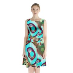 Multiscale Turing Pattern Recursive Coupled Stone Rainbow Sleeveless Waist Tie Chiffon Dress