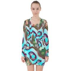 Multiscale Turing Pattern Recursive Coupled Stone Rainbow V Neck Bodycon Long Sleeve Dress