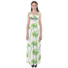 Marimekko Fabric Flower Floral Leaf Empire Waist Maxi Dress