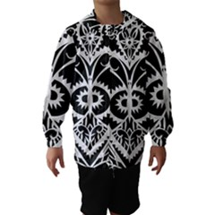 Paper Cut Butterflies Black White Hooded Wind Breaker (kids)