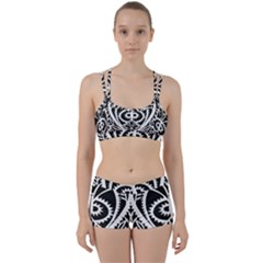 Paper Cut Butterflies Black White Women s Sports Set