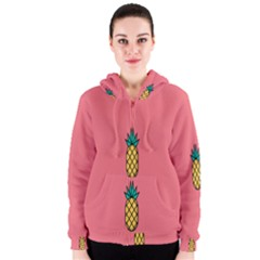 Pineapple Fruite Minimal Wallpaper Women s Zipper Hoodie
