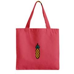 Pineapple Fruite Minimal Wallpaper Zipper Grocery Tote Bag