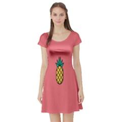 Pineapple Fruite Minimal Wallpaper Short Sleeve Skater Dress