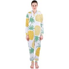 Pineapple Fruite Seamless Pattern Hooded Jumpsuit (ladies)