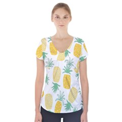 Pineapple Fruite Seamless Pattern Short Sleeve Front Detail Top