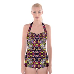 Queen Design 456 Boyleg Halter Swimsuit