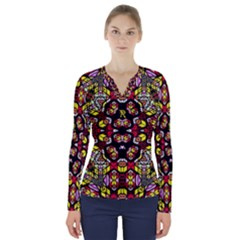 Queen Design 456 V Neck Long Sleeve Top