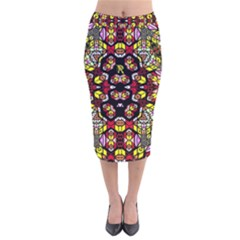 Queen Design 456 Velvet Midi Pencil Skirt
