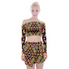 Queen Design 456 Off Shoulder Top With Skirt Set