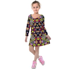 Queen Design 456 Kids  Long Sleeve Velvet Dress