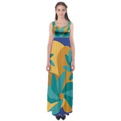 Urban Garden Abstract Flowers Blue Teal Carrot Orange Brown Empire Waist Maxi Dress