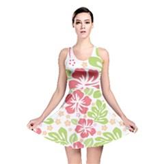 Hibiscus Pattern Pink Reversible Skater Dress
