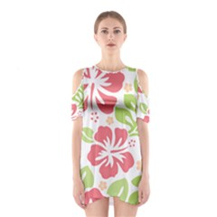 Hibiscus Pattern Pink Shoulder Cutout One Piece