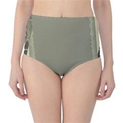 Moss Green Abstract High Waist Bikini Bottoms