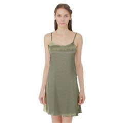 Moss Green Abstract Satin Night Slip