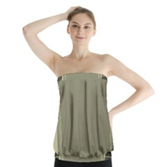 Moss Green Abstract Strapless Top