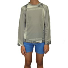 Moss Green Abstract Kids  Long Sleeve Swimwear