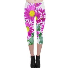 Pink White Flowers Capri Leggings
