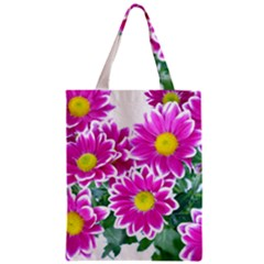 Pink White Flowers Zipper Classic Tote Bag